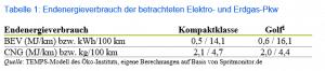 Endenergieverbrauch der betrachteten Elektro- und Erdgas-Pkw, Quelle: Öko-Institut